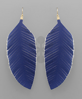 Leather Feather Earrings in Navy