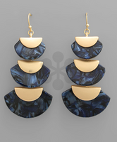 Acrylic Wedge Earrings in Navy