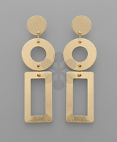 Circle Rectangle Earrings