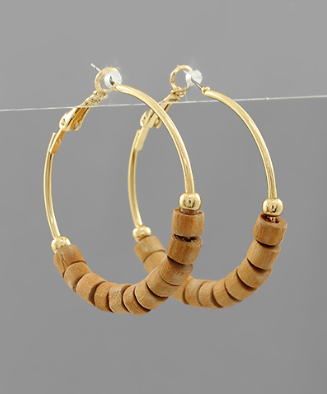 40mm Wood Bead Hoops