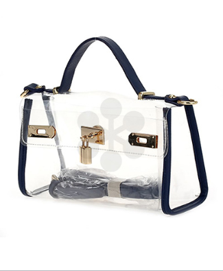 Lock Charm Clear Bag in Navy