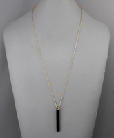 Stone Bar Necklace in Black