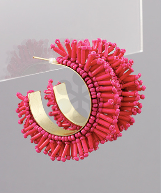 Hoop & Bead Earrings in Hot Pink