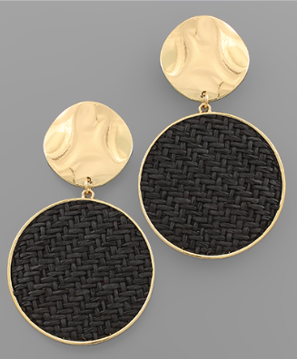 Gold Disk & Black Woven Earrings
