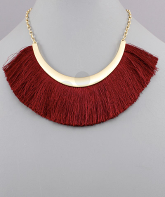 Curved Bar & Fringe Necklace in Wine