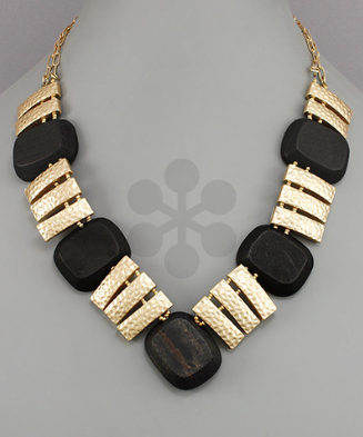 Gold & Black Ladder Necklace
