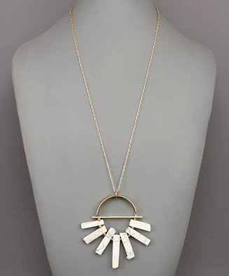 Gold Necklace with White Marble Bars