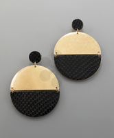 Gold & Black Python Stud Earrings