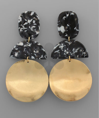 Acrylic & Wavy Disc Earrings in Black
