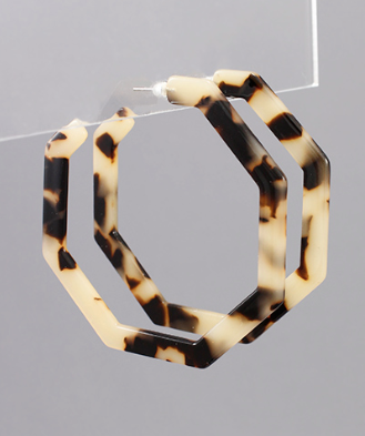 Octagon Acrylic Open Hoops in Light Tort