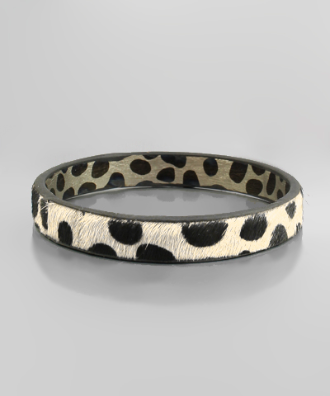 Cheetah Leather Bangle in Cream