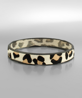 Leopard Leather Bangle in Cream