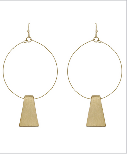 Hoop and Solid Trapezoid Earrings