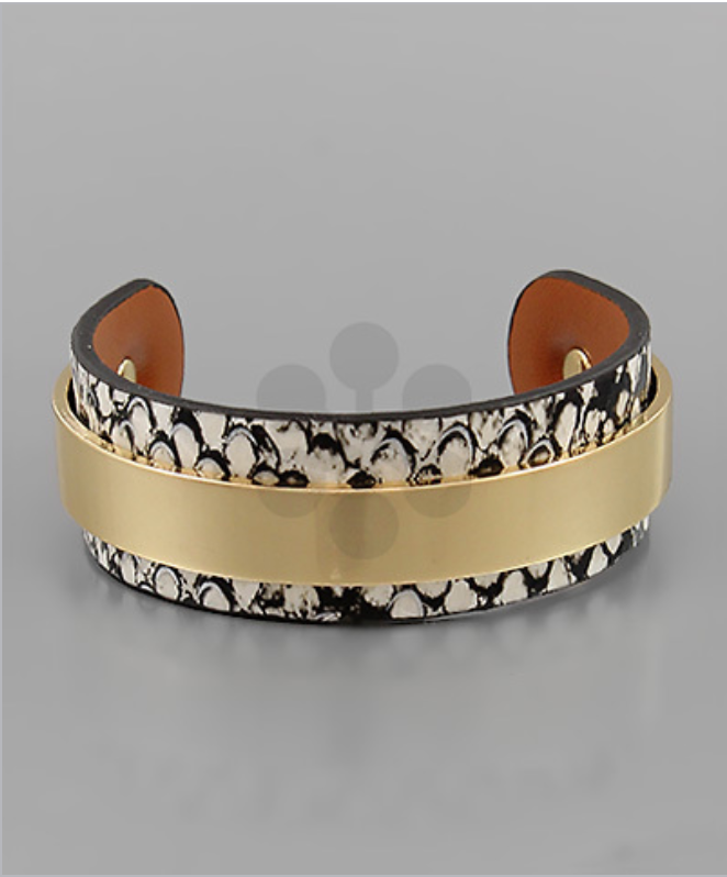 Brown Snake Skin Cuff with Metal Band