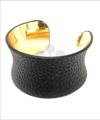 Worn Black Leather Cuff Bracelet