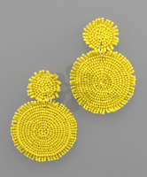 Rough Edge Double Circle Earrings in Yellow