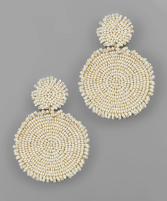 Rough Edge Double Circle Earrings in Cream
