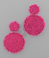Rough Edge Double Circle Earrings in Magenta
