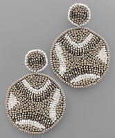 Bead Pattern Earrings in Grey/White