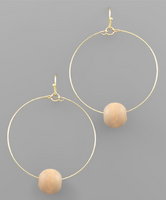 Thin Hoops & Bead Earrings in Taupe