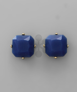 Soft Square Studs in Navy