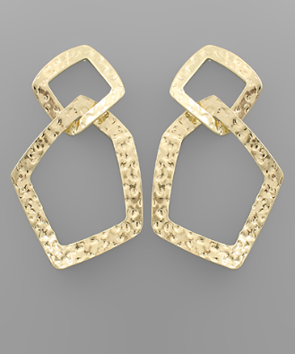 Textured 2 Chain Earrings in Gold