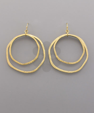 Double Circle Earrings in Gold