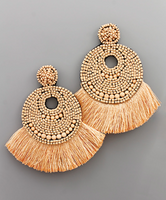 Peach Flat Bead & Fringe Earrings