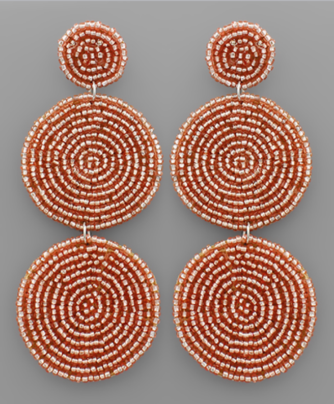 Tri Circle Lt. Peach Beaded Earrings