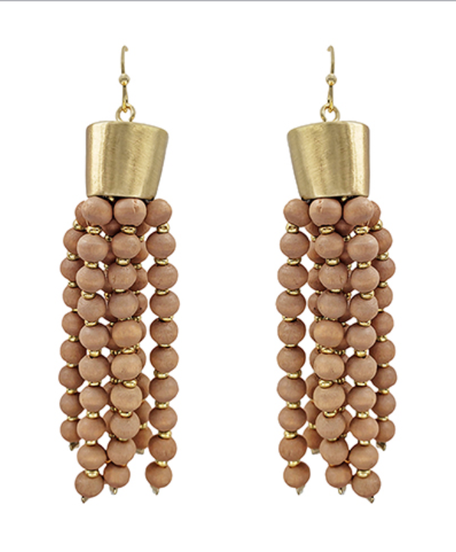Wooden Beaded Tassel Earrings in Dusty Pink