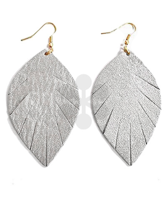 Leather Feather Earrings in Silver