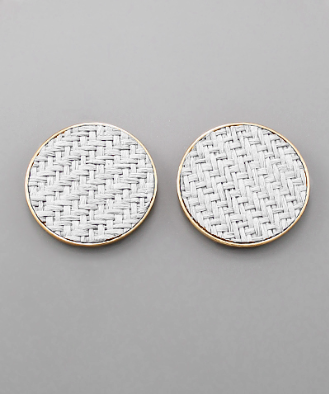 Oversized Woven Studs in White