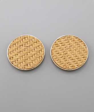 Oversized Woven Studs in Tan