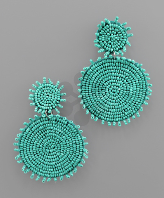 Rough Edge Double Circle Earrings in Turquoise
