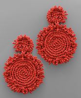 Statement Double Circle Bead Earrings in Red