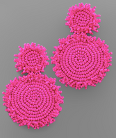 Statement Double Circle Bead Earrings in Magenta