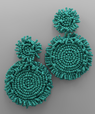 Statement Double Circle Bead Earrings in Teal