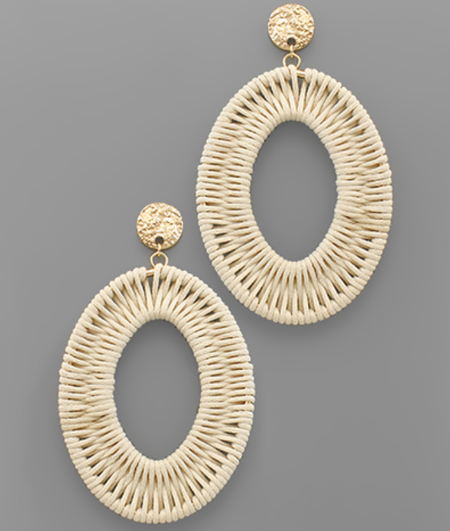 Ivory & Gold Woven Oval Earrings