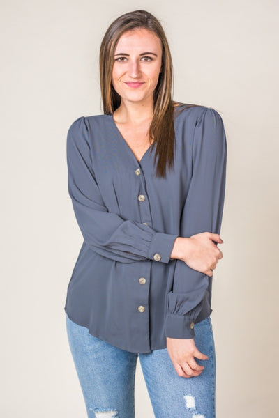 Bristal Button Up Top in Ash Grey