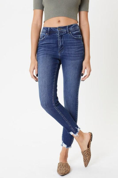 High Rise Hem Detail Ankle Skinny Jeans