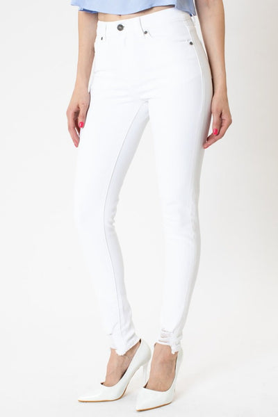 High Rise Hem Detail Super Skinny Jeans in White