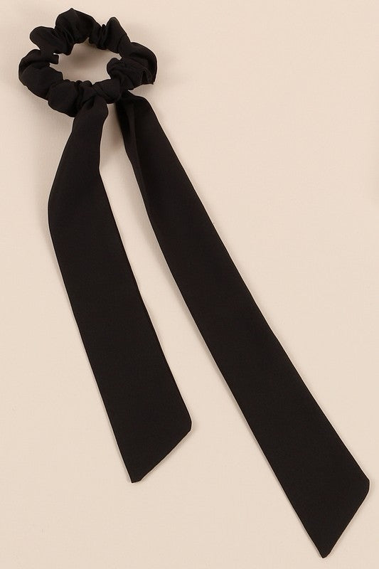 Solid Ponytail Scarf Scrunchy in Black