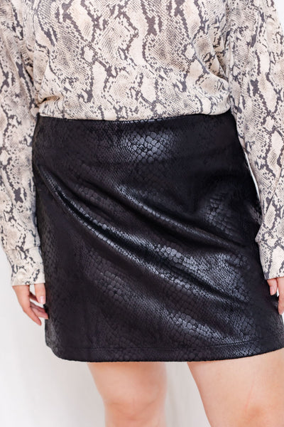 Black Snake Textured Mini Skirt (1X-3X)