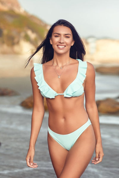 Tiffany Ruffled Swimsuit in Aqua
