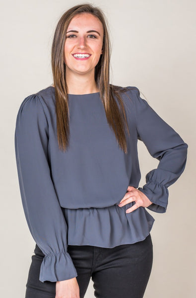 Amanie Ash Grey Peplum Top