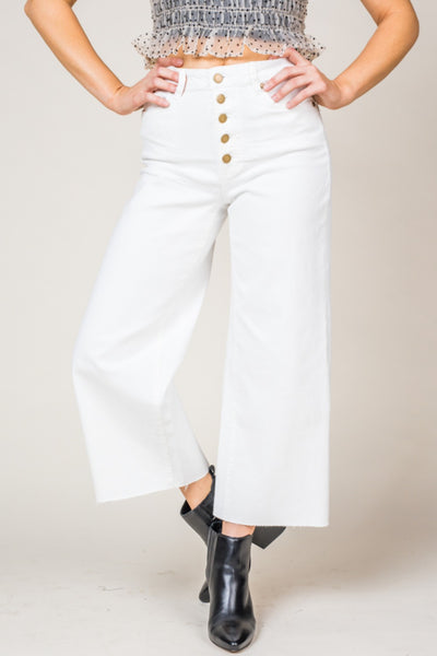 Wilma Wide Leg White Twill Trousers