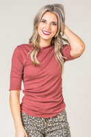 Rayley Ribbed Knit Top in Brick