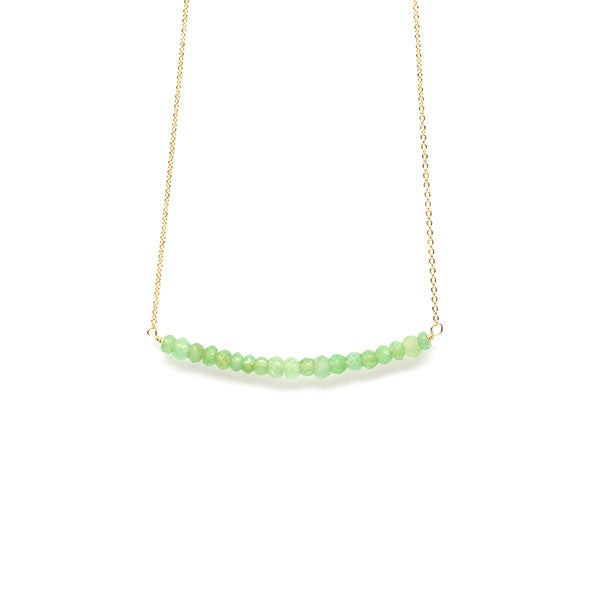 Beaded Bar Necklace in Chrysoprase