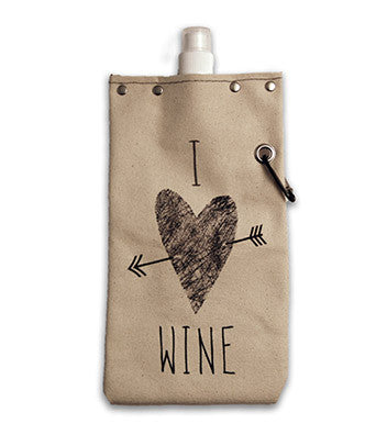 "Tote & Able Canvas Flask ""I Heart Wine"" 25oz"
