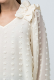 Dotted Sweet V-neck Top Natural